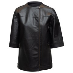 Lanvin Black Short Sleeve Leather Jacket