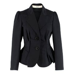 Lanvin Black Silk Blend Fitted Blazer SIZE 38