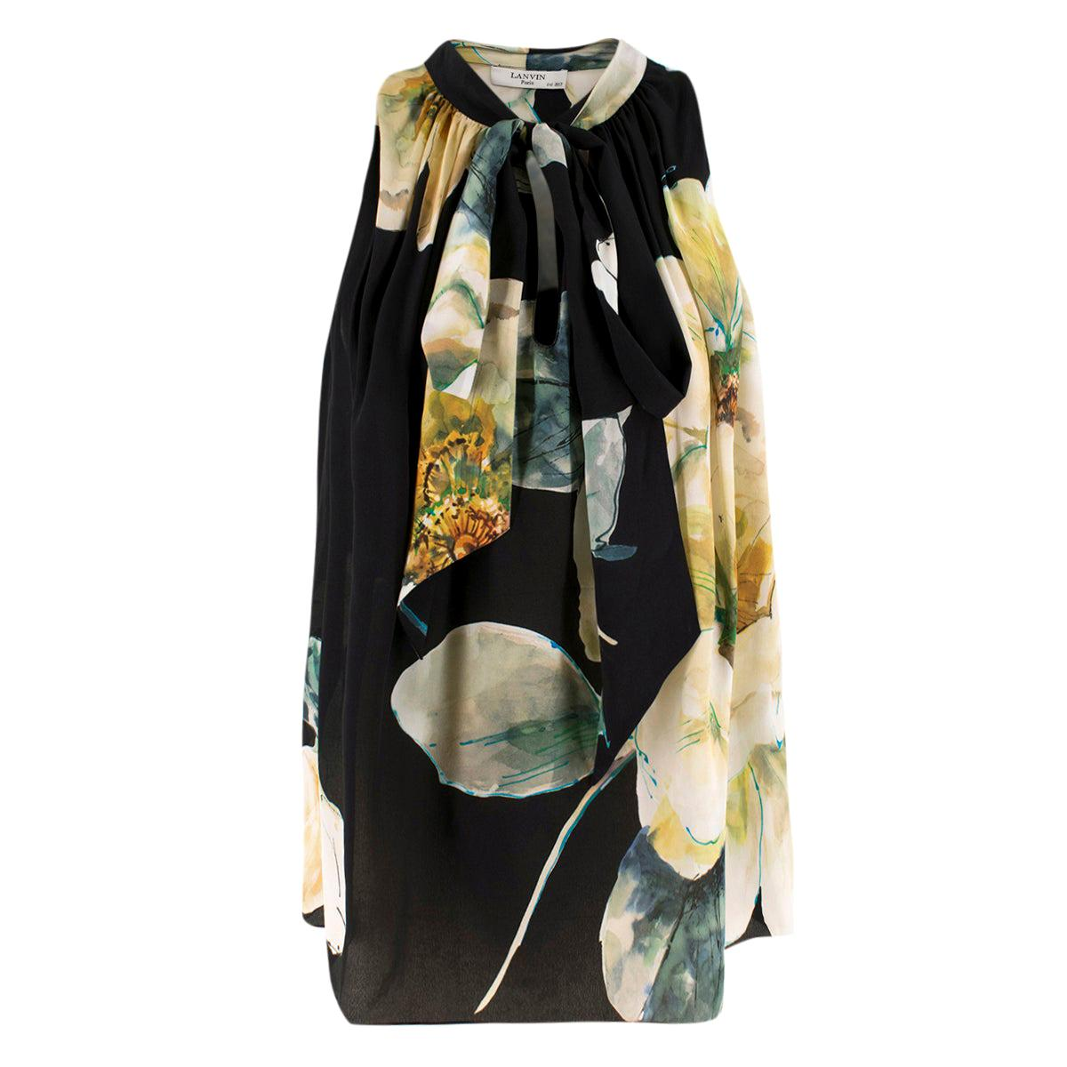 Lanvin Black Silk Floral Sleeveless Top - Size US 4