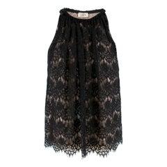 Lanvin Black Silk Lace Embellished Sleeveless Top - Size US 6