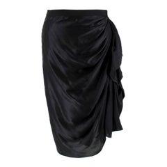 Lanvin Black Silk Pencil Skirt 40 FR