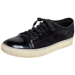 Lanvin Black Suede and Patent Leather DDB1 Low Top Sneakers Size 41