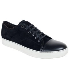 Lanvin Black Suede Nubuck Calfskin Cap Toe DDB1 Sneakers