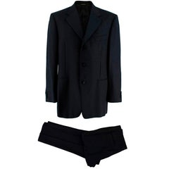 Lanvin Black Virgin Wool Single Breasted Two-Piece Suit - Size XL EU52