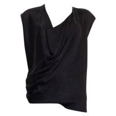 LANVIN black viscose DRAPED Sleeveless Blouse Shirt 38 S