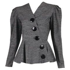 Lanvin Black & White Striped Jacket w/Peplum Waist