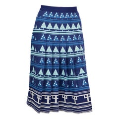 Lanvin Blue Geometric Wool Pleated Skirt