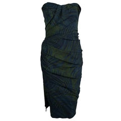Lanvin Bottle Green Palm Leaf Print Strapless Ruched Midi Dress M