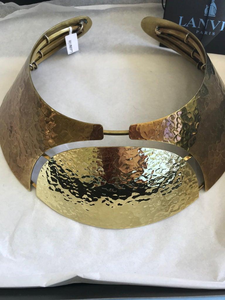 LANVIN Brass Hammered Bib Necklace