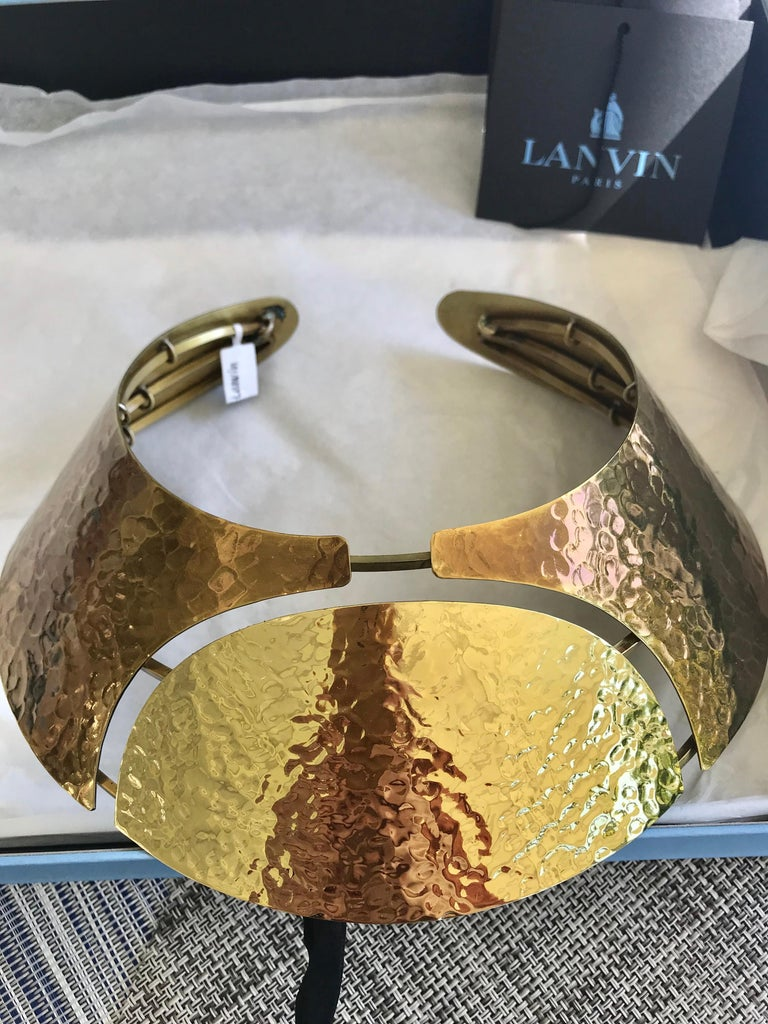 LANVIN Brass Bib Necklace In Excellent Condition For Sale In Beverly Hills, CA