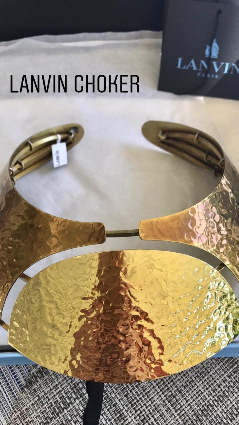 LANVIN Brass Bib Necklace For Sale 2