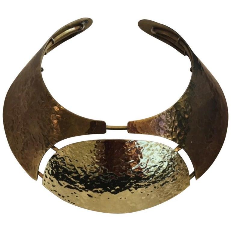 LANVIN Brass Bib Necklace For Sale