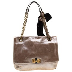 Lanvin Bronze Metallic Leather Happy Shoulder Bag