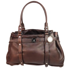Lanvin Brown Leather Double Strap Purse W/ Silver Hardware