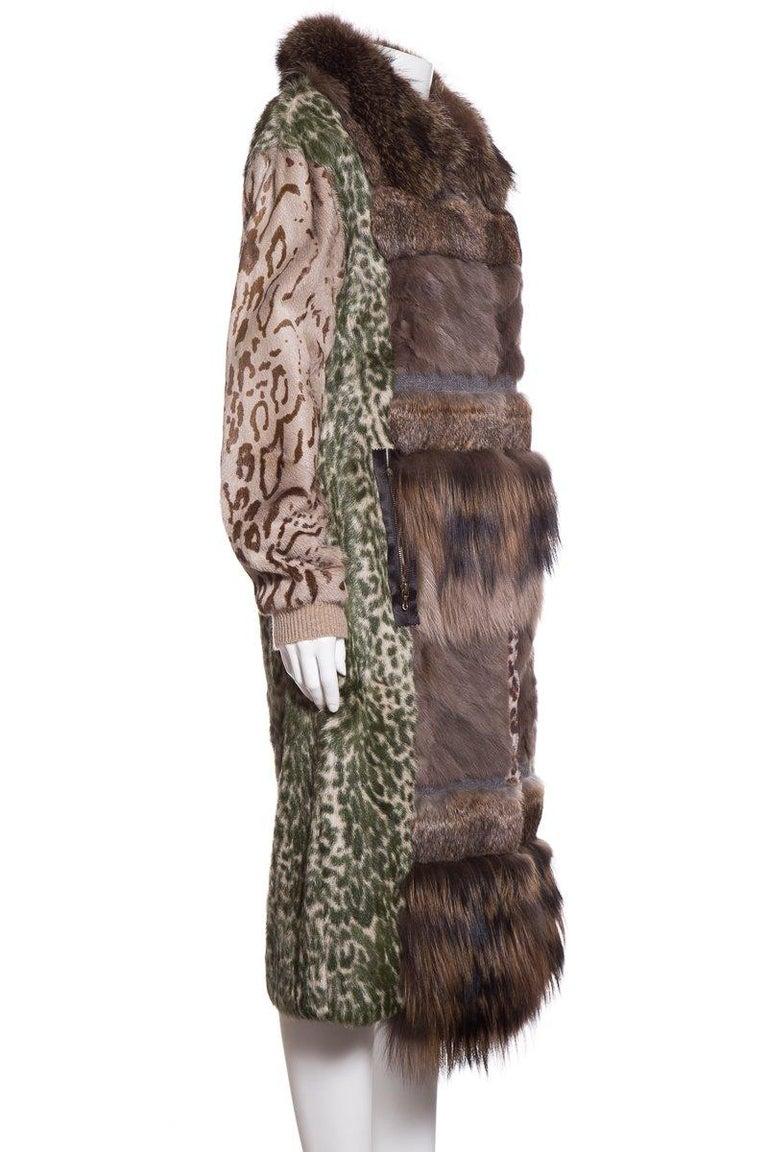 Black LANVIN  Brown & Multicolor Patchwork Fur Coat For Sale