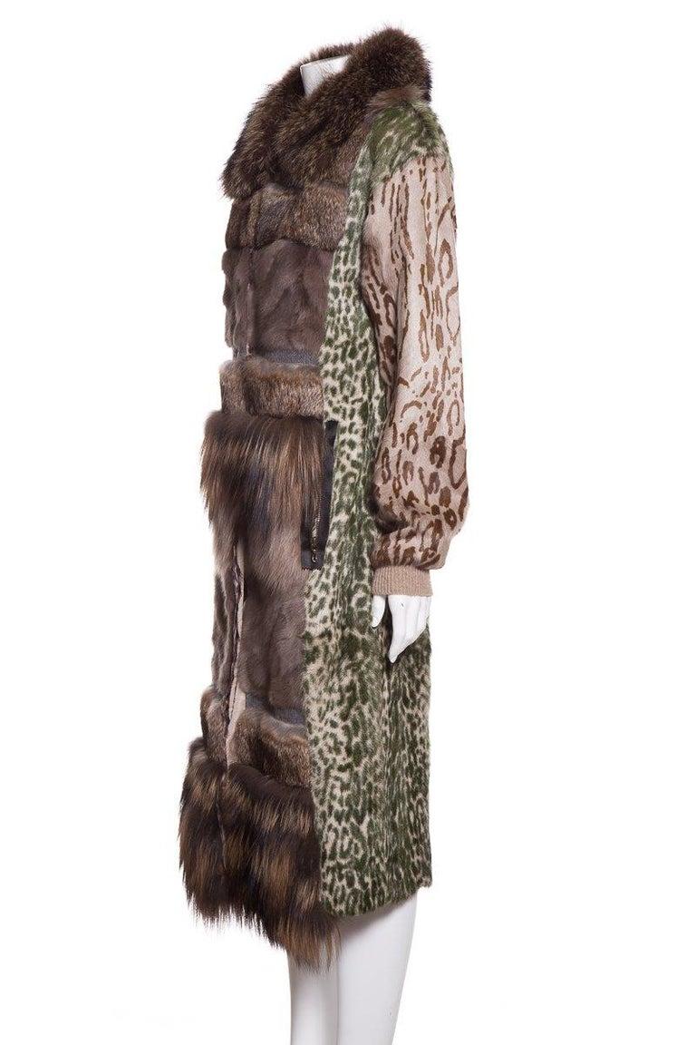 LANVIN  Brown & Multicolor Patchwork Fur Coat In Excellent Condition For Sale In Scottsdale, AZ