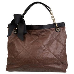 Lanvin Brown Soft Quilted Leather Large Amalia Tote Shoulder Bag