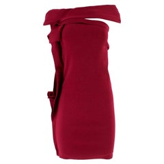Lanvin Burgundy Ruffled Bardot Dress - Size US4