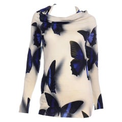 Lanvin by Alber Elbaz Deep Blue Butterfly Shadow Cream Sweater