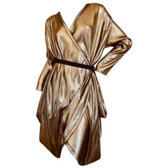 Lanvin by Alber Elbaz Metallic Gold Goddess Dress Spring 2009