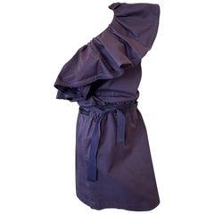 Lanvin by Alber Elbaz Purple Cotton One Shoulder Dress w Dramatic Ruffle Flounce