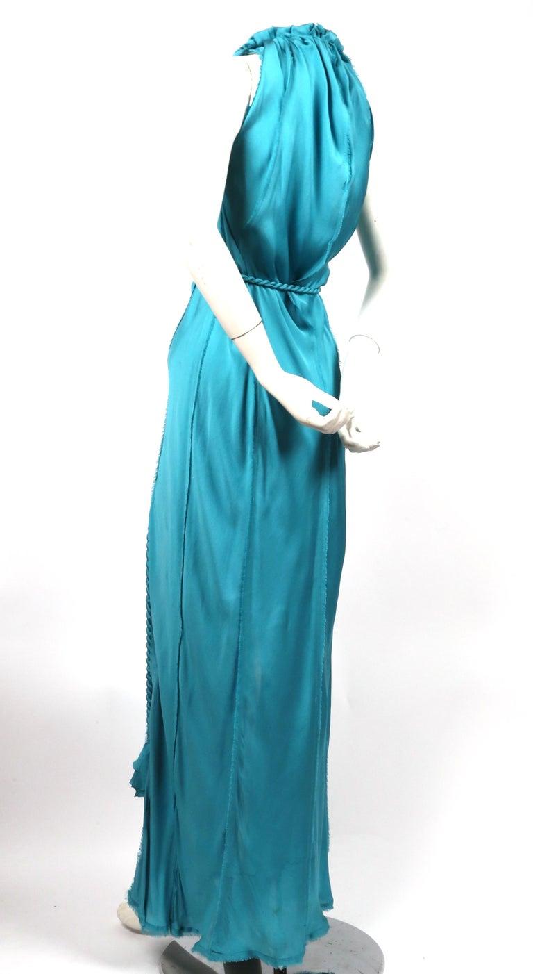 Blue LANVIN by Alber Elbaz turquoise silk bias cut dress For Sale