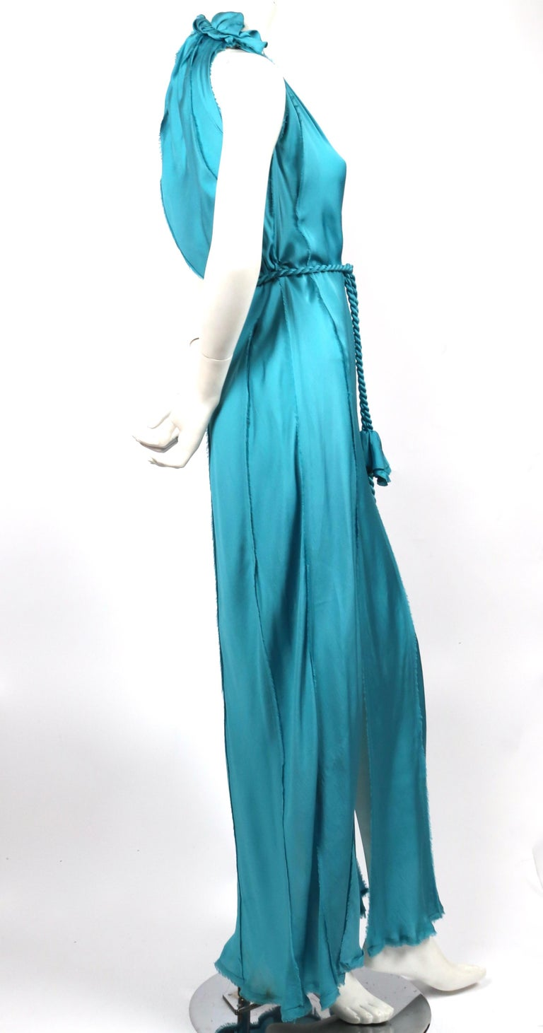 LANVIN by Alber Elbaz turquoise silk bias cut dress In Good Condition For Sale In San Fransisco, CA