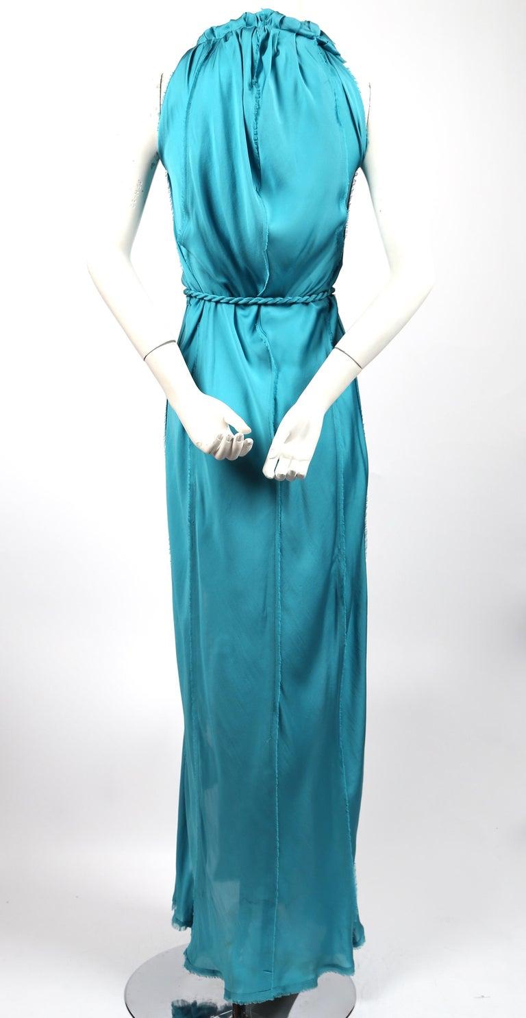 Women's LANVIN by Alber Elbaz turquoise silk bias cut dress For Sale