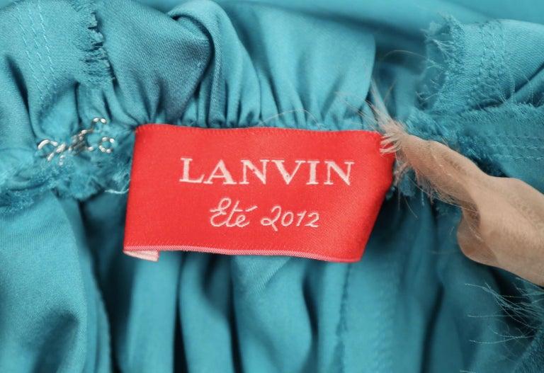 LANVIN by Alber Elbaz turquoise silk bias cut dress For Sale 1