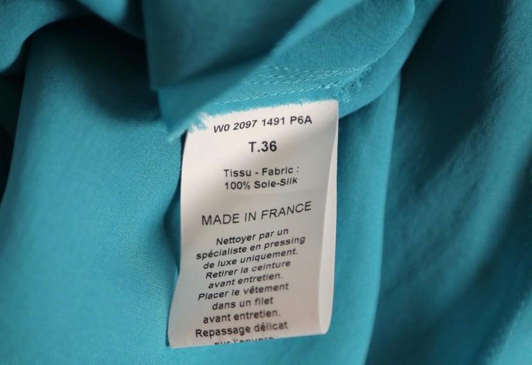 LANVIN by Alber Elbaz turquoise silk bias cut dress For Sale 2