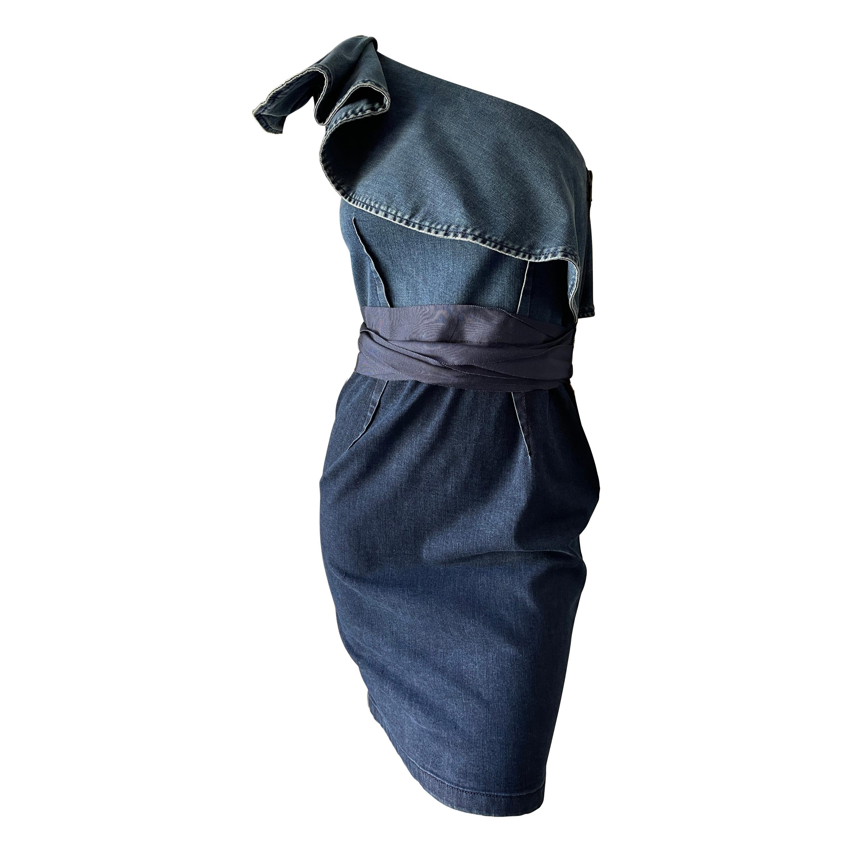 Lanvin by Alber Elbaz Vintage One Shoulder Ruffled Denim Dress