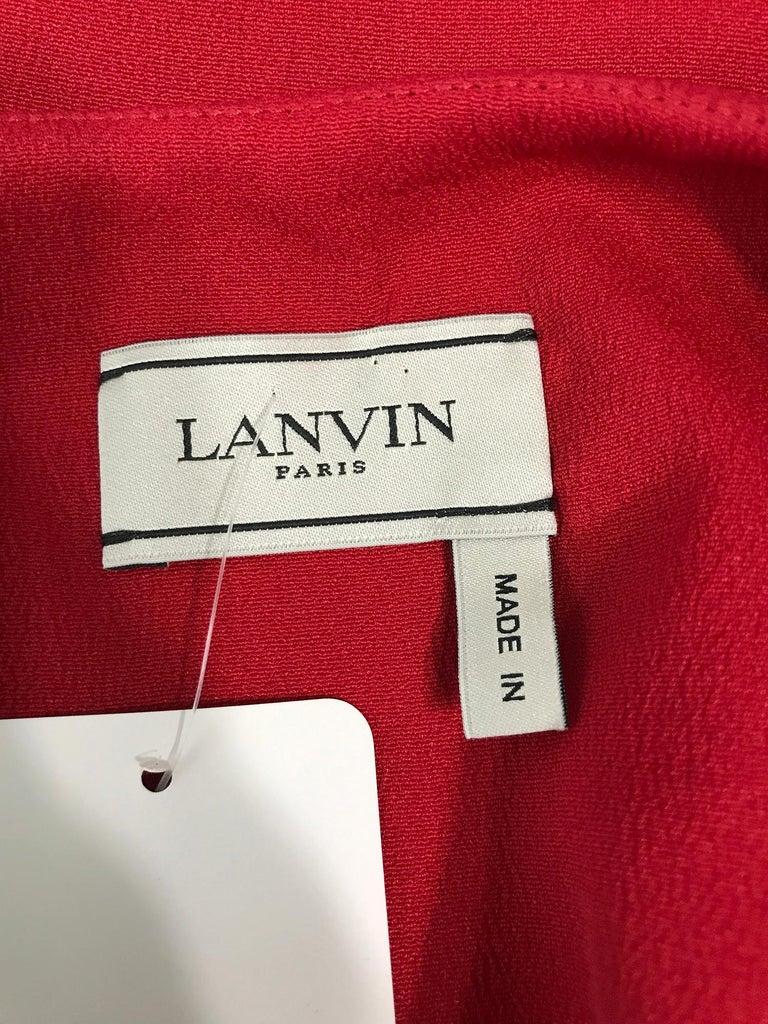 Lanvin Cherry Red Silk Blend Crepe Chemise Dress  For Sale 6