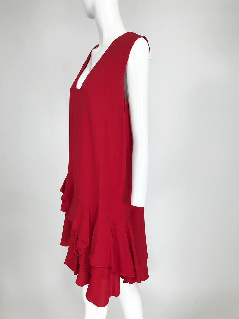 Lanvin Cherry Red Silk Blend Crepe Chemise Dress  In Excellent Condition For Sale In West Palm Beach, FL