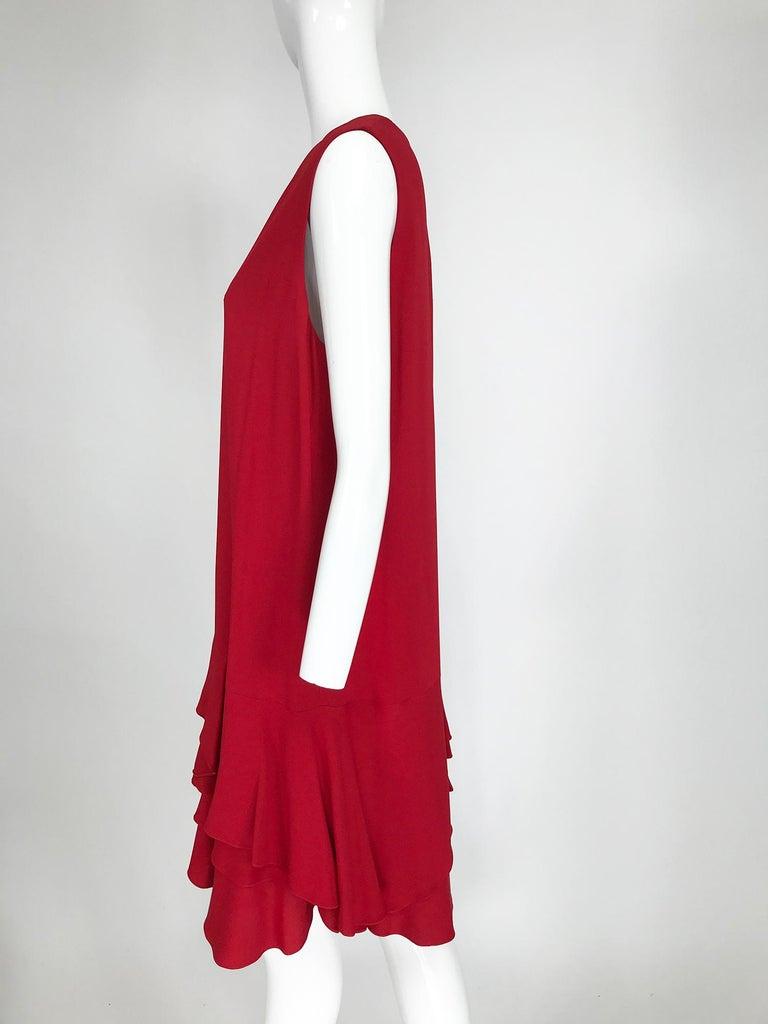 Women's Lanvin Cherry Red Silk Blend Crepe Chemise Dress  For Sale