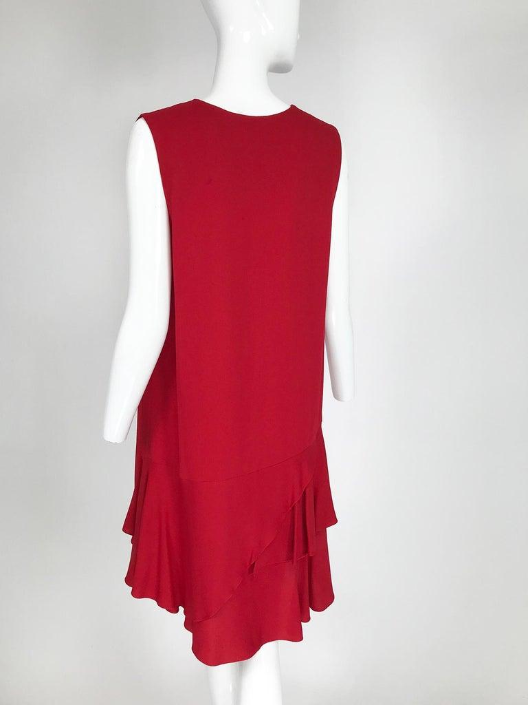 Lanvin Cherry Red Silk Blend Crepe Chemise Dress  For Sale 1