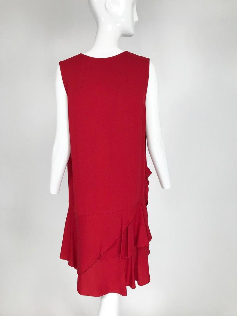 Lanvin Cherry Red Silk Blend Crepe Chemise Dress  For Sale 2