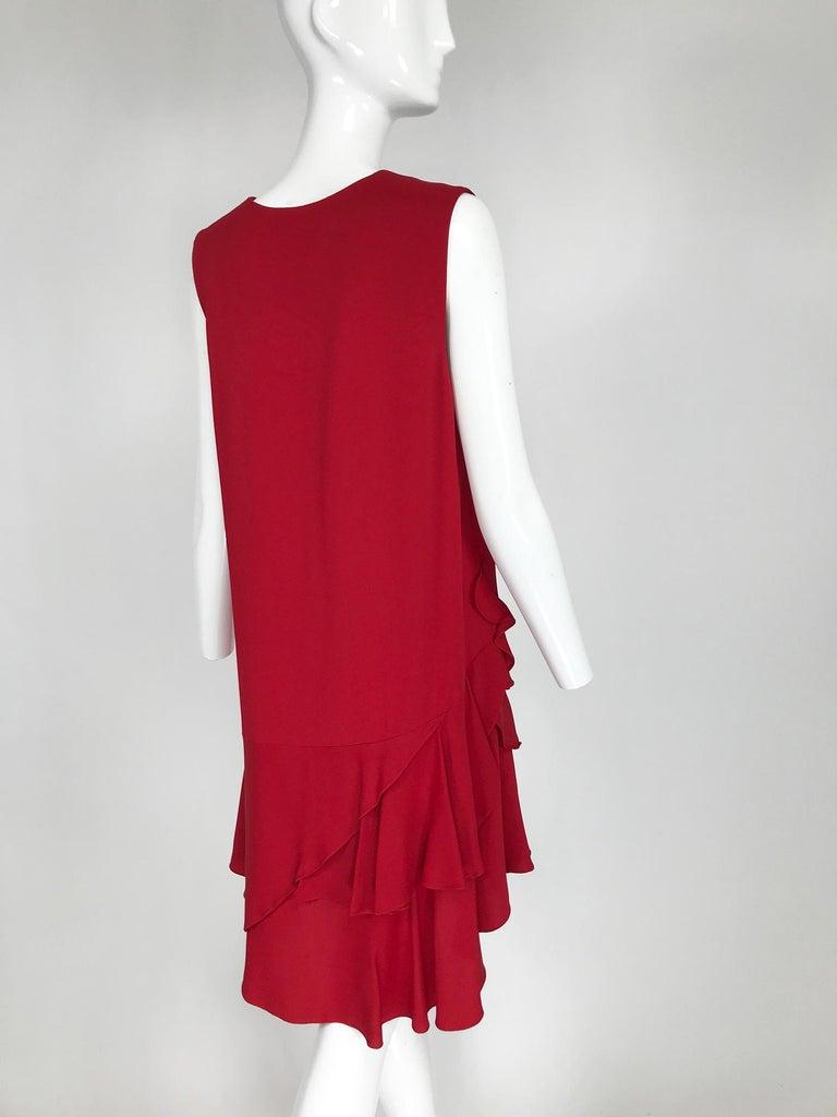 Lanvin Cherry Red Silk Blend Crepe Chemise Dress  For Sale 3