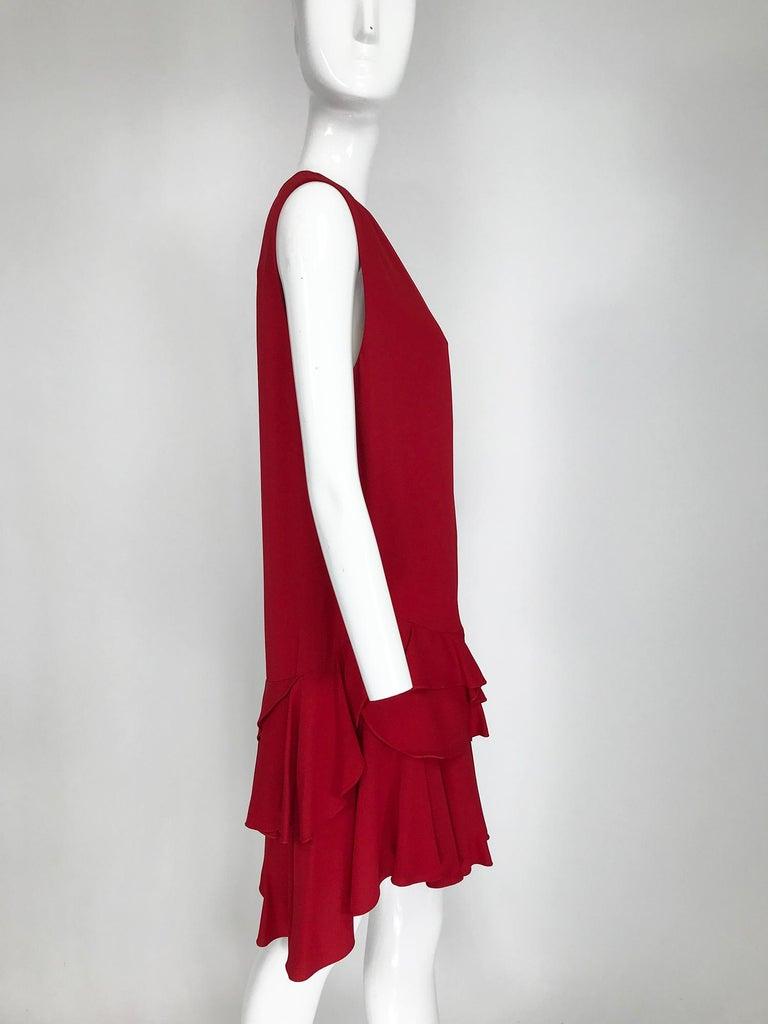 Lanvin Cherry Red Silk Blend Crepe Chemise Dress  For Sale 4