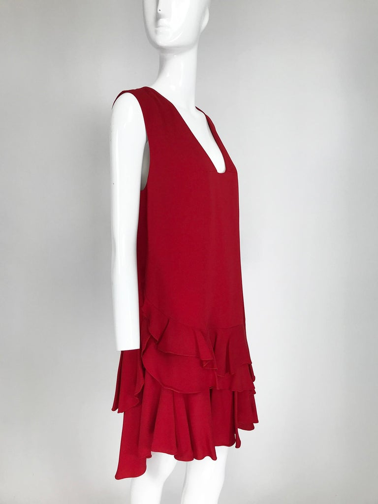 Lanvin Cherry Red Silk Blend Crepe Chemise Dress  For Sale 5