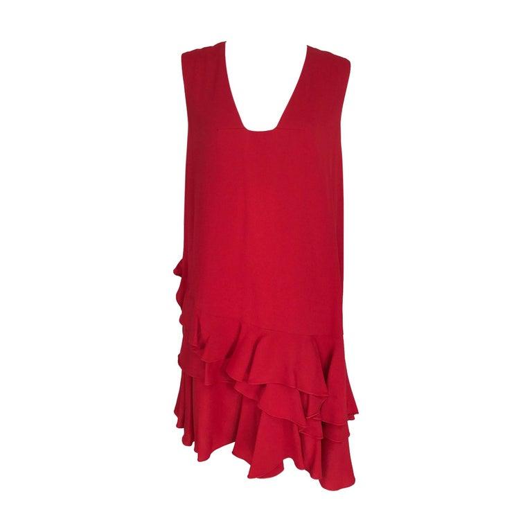 Lanvin Cherry Red Silk Blend Crepe Chemise Dress  For Sale