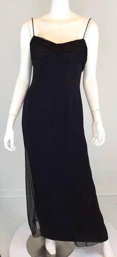 Lanvin Chiffon Blend Dress Vintage 1970's with Rhinestone Straps