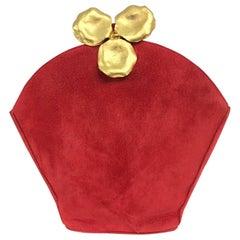 Lanvin Coral Red Flower Pot Evening Bag