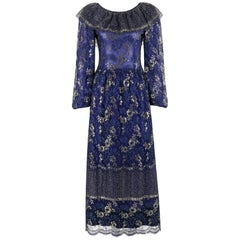 LANVIN Haute Couture c.1970s Periwinkle Gold Floral Lace Overlay Maxi Dress