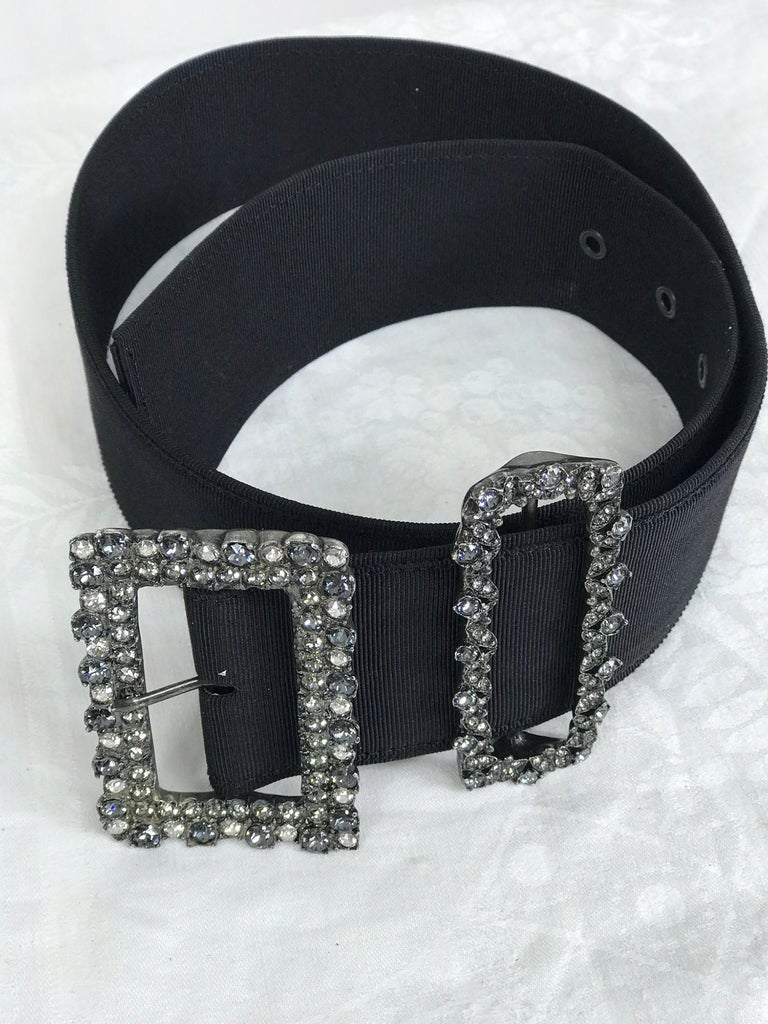 Lanvin Crystal Rhinestone Buckle Belt of Wide Black Grosgrain  In Excellent Condition For Sale In West Palm Beach, FL