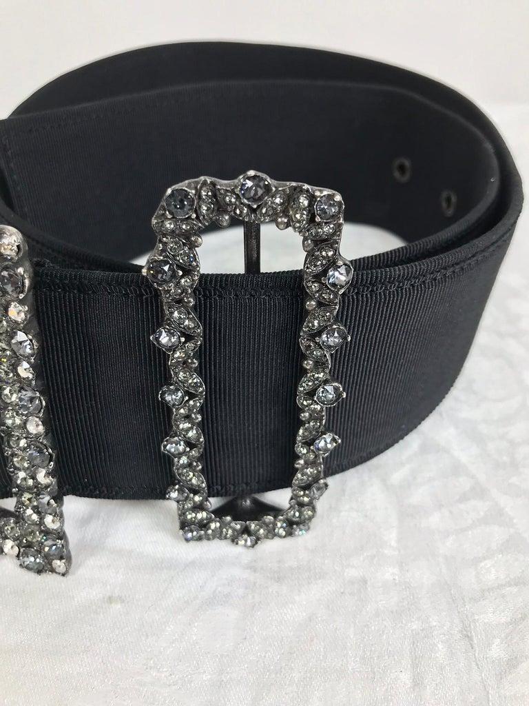 Women's Lanvin Crystal Rhinestone Buckle Belt of Wide Black Grosgrain  For Sale