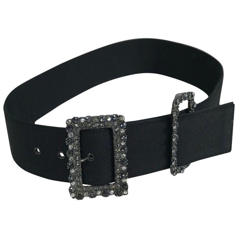 Lanvin Crystal Rhinestone Buckle Belt of Wide Black Grosgrain  For Sale