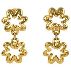 Lanvin Dangle Clip Earrings Gilt Metal Flower