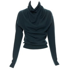LANVIN Elbaz 2009 100% fleece wool forest green draped pullover sweater S