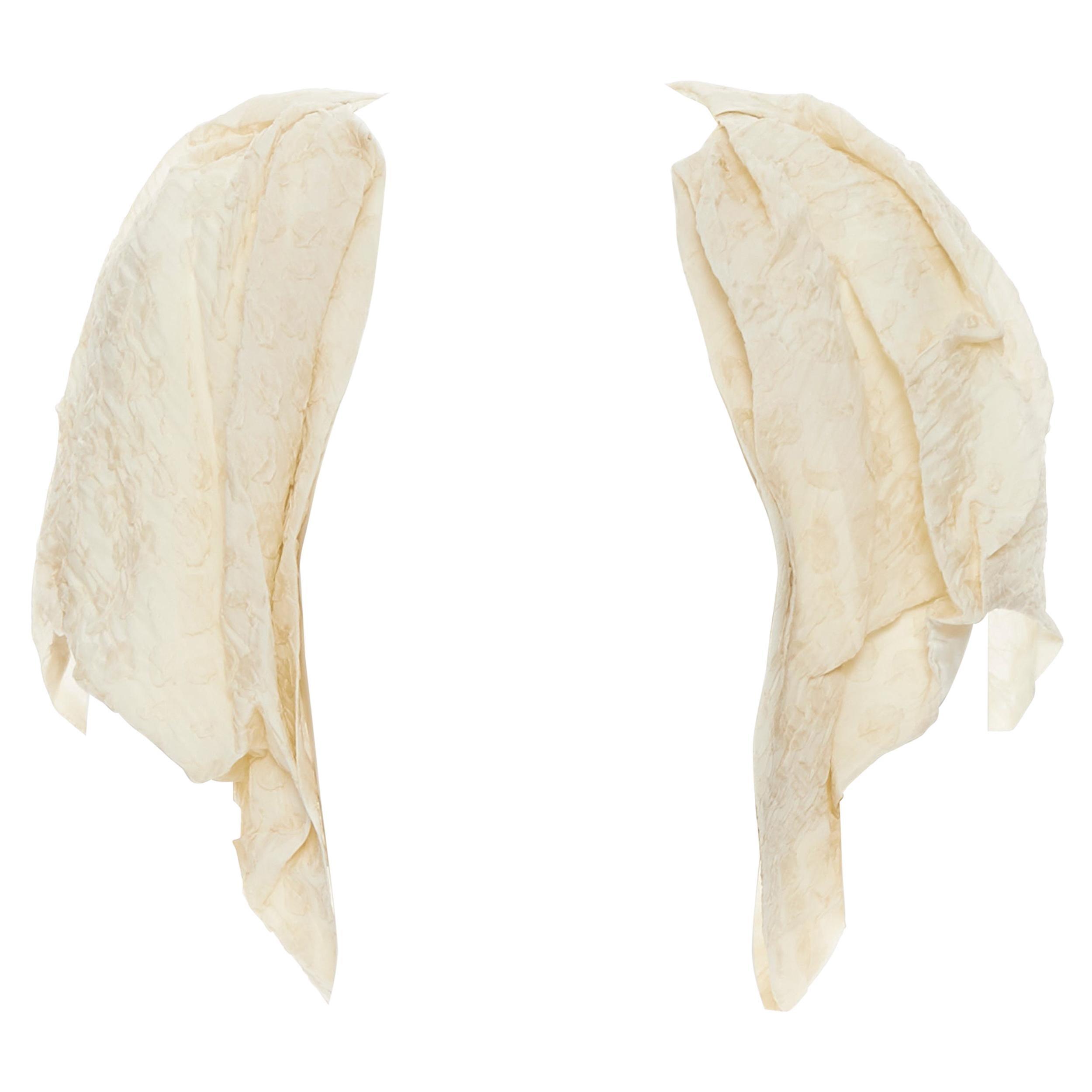 LANVIN Elbaz 2009 beige floral cloque silk cropped shrug jacket FR36 XS