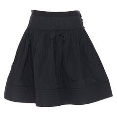 LANVIN ELBAZ 2009 black polyester raw frayed flared crin hem knee skirt FR38 S